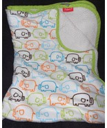 Zutano Elephant Print Baby Blanket Green Blue Orange White Sherpa Boy Girl - $27.69