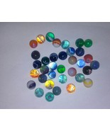 LOT OF (35) DIFFERENT VINTAGE RIBBON GLASS MARBLES SIZES 2/3 - 3/4 INCHE... - $329.18