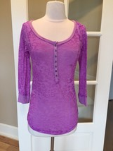 Purple Top Aeropostale Stretchy Pullover Semisheer Shirt Womens Fit Smal... - $12.99