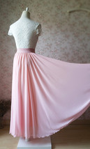 Blush Pink Chiffon Maxi Skirt Wedding Chiffon Skirt Floor Length Pink Skirt image 4