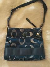 Coach Signature Metallic Teal  Shoulder Messenger  Bag Key Chain  H1276F... - $70.11