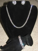 Vtg Jewelry WEISS Rhinestone Parure 3 pc Set Necklace Earrings Bracelet Stunning - $429.00