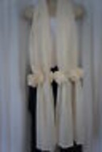 Ilana Chiffon Wrap One Size Ivory With Flowers  - $19.71