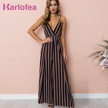 Karlofea New Stripped Print Summer Casual Chic Rompers Sleeveless V Neck Sweet B - $42.16