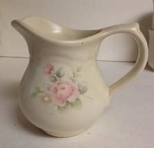 "Pfaltzgraff Tea Rose Creamer Pink Rose Blue Flowers Stoneware 11 Ounce 4"" Tall - $12.19"