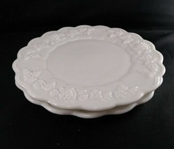 "Set of 2 Westmoreland Milk Glass Paneled Grape Salad Plates 8.5"" Near Mi... - $19.80"