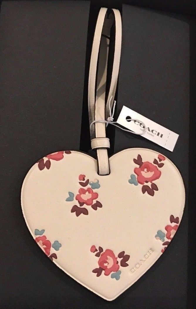 COACH NEW $35 Key Fob Purse Charm Leather Chalk Floral Roses Printed Heart X - $14.26