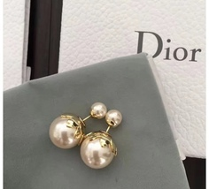 SALE! Auth Christian Dior Mise En Dior Tribal Petal Gold Double Pearl Earrings