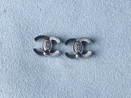 Authentic Chanel CC Logo Crystal Strass Silver Stud Earrings  image 12