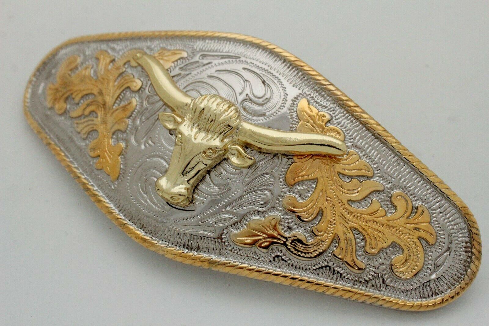 Hombre Western Cowboys Cinturón Hebilla Metal Plata Rodeo Largo Oro Texas Cuerno image 11