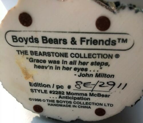 Boyds Bears Bearstone Collection Momma McBear Expecting Pregnant Gift #2282