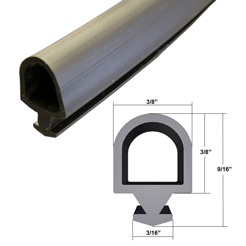 """Black Silicone Bulb Type Gasket Weatherstrip, 3/8"""" Width, 3/16"""" Backing - 20 Ft. - $44.95"""