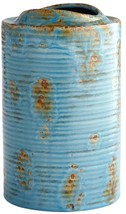 Vase CYAN DESIGN BRUSSELS Medium Blue Glaze Terracotta New - $79.00