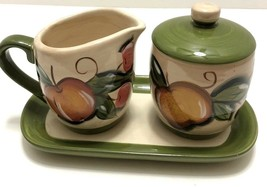Tabletops Gallery Grappa Creamer, Covered Sugar Bowl, Tray - Hand Painte... - $29.69