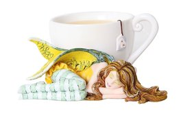 4.5 Inch Chamomile Tea Fairy Sleeping by Cup Statue Figurine - $24.74
