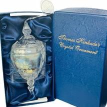 Thomas Kinkade Christmas ornament glass annual Crystal figurine Victorian 2008 - $49.45