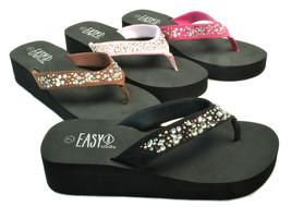 Womens Sandals Jeweled Crystal Flip Flops Platform Wedge EVA Thongs Size... - $16.99