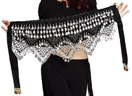 Belly Dance Hip Scarf for Women S/M/L/XL (Small / Medium|Black Silver) - $18.42