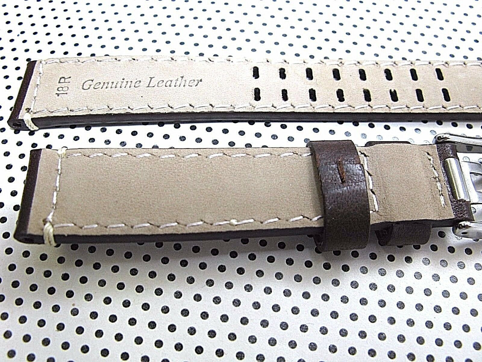 ARCADIA 18mm Italian Genuine Leather Watch Band Strap-Calf khaki & seamaster image 2