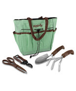 Gardening Tools, Blooms Teal Canvas 5-piece Garden Bag Gardening Tool Set - $21.98