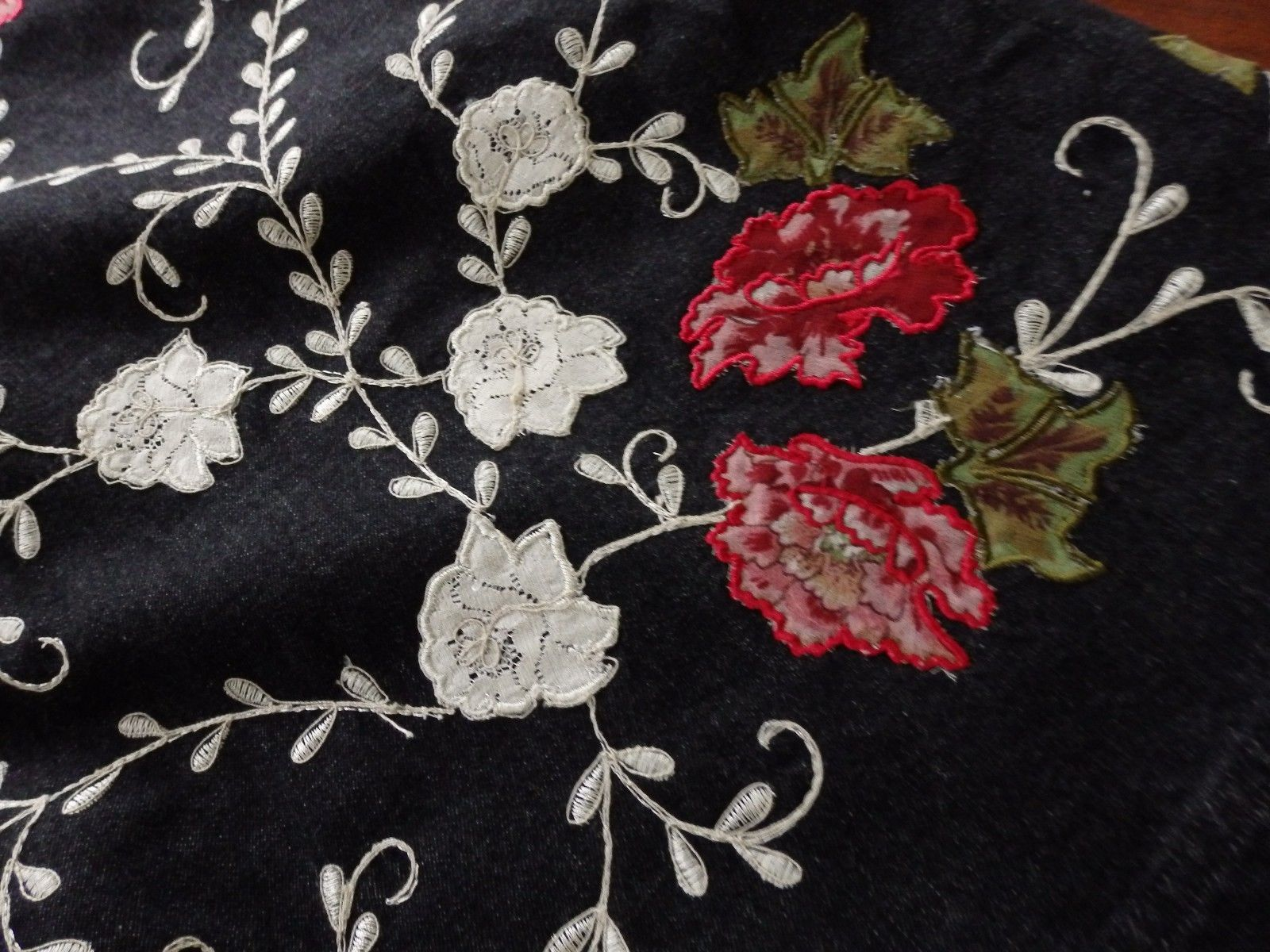 Denim & Co Black Denim Jean Jacket Appliqued Floral, Sz M