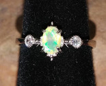 Faceted Welo Opal with CZ crystals Sterling Silver handmade ring adjustable  - £31.67 GBP