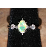 Faceted Welo Opal with CZ crystals Sterling Silver handmade ring adjusta... - $80.00