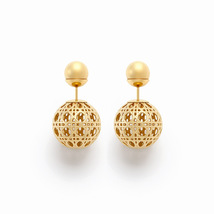 AUTHENTIC Christian Dior Classic Mise En Dior Cannage Tribal Pearl Earrings Gold