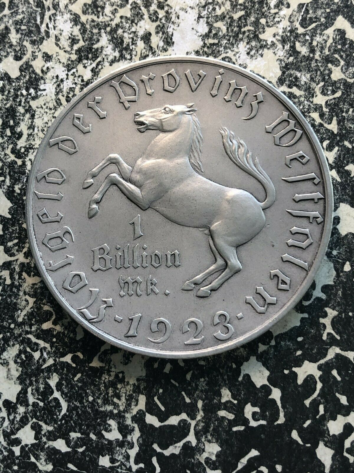 1923 Alemania Westphalia Notgeld 1 Billion Marco Massive Plateada Bronce Pieza