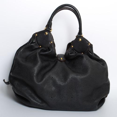Louis Vuitton Women's Black Mahina Leather Hobo Bag Handbag Shoulder Bag Size XL
