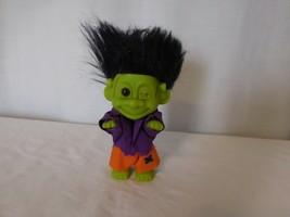 "Frankenstein Monster Vintage Russ 5"" Troll Doll with Black Hair Hallowee... - $13.88"