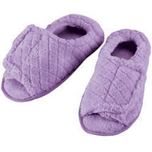 Quilted Chenille Adjustable Toe Slippers-MED-LAVENDER - $17.74