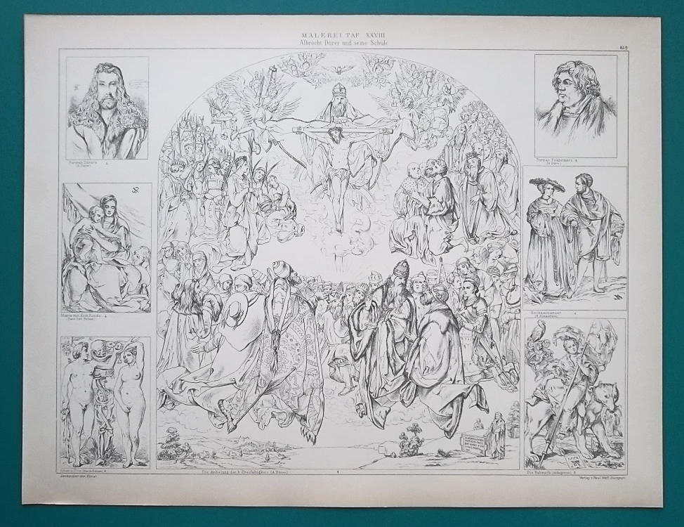 Primary image for RENAISSANCE Paintings Works of A. Durer School Painters - 1893 Antique Print