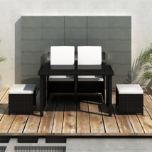 Outdoor Patio Rattan Dining Set Garden Cube Storage Table 2 Chairs 2 Stool Black image 2