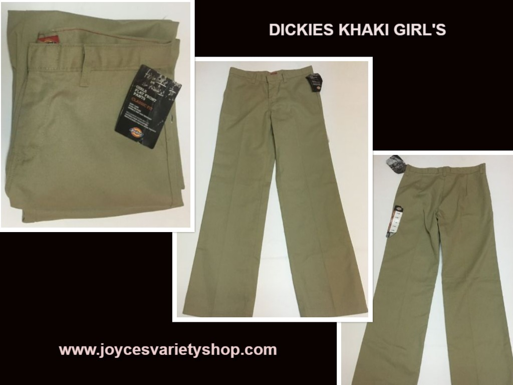 Girls dickies khaki pants web collage