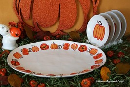 CRATE & BARREL MARIN PUMPKIN PLATTER & PLATES -NWT- SERVE UP TURKEY & DE... - $149.95
