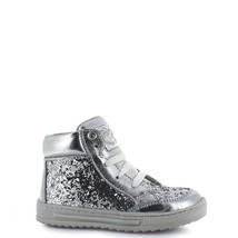 Girl's Rilo toddler leather tennis shoes in sparkling silver - $40.98