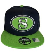 Seattle S Oval Style Cotton Snapback Baseball Cap (Navy/Lime) - $12.95