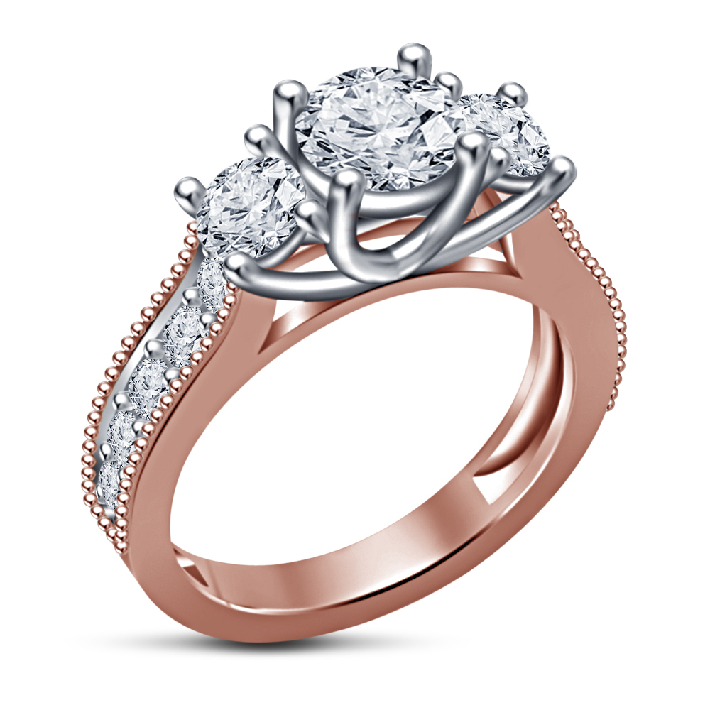 Primary image for Elegant Design Three Stone Ring 14k Rose Gold Over 925 Silver Round Cut Diamond