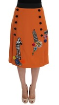 Dolce & Gabbana Orange Wool Crystal Sequin Appliques Skirt - $1,592.24