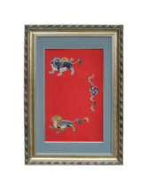 Antiques Chinese Foo Dog Playing Fireball Embroidery Painting Wall Decor... - $1,462.50