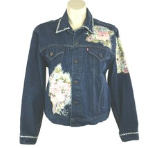 VTG Levis USA Denim Jean Jacket Trucker Coat Mens 50 Embellish Women Plu... - $49.95