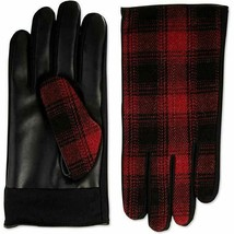 Isotoner Mens Sleek Heat Faux Leather Plaid Driving Gloves Red XL… - $9.90