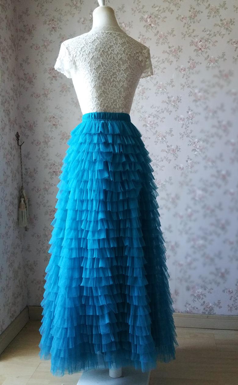 Blue 24 floor length tulle skirt 780 4