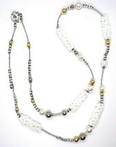 Necklace Antique Murrina, CO746A05, Vines, Spheres, White, 90 cm, Glass Murano image 2