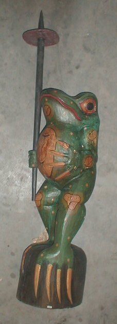 Frog Super Large Size Statue 39 inch with umbrella Hand carved in Bali