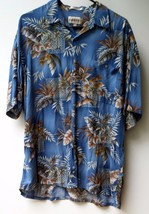 Campia Moda Men's Shirt Size L Blue With Leaf Print Short Sleeve 100% Rayon - $19.99