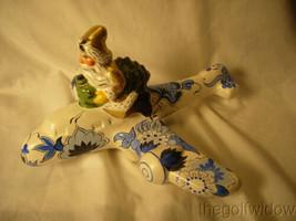 Vaillancourt Folk Art Santa in Gold Flying Delft Plane Signed by Judi  image 1
