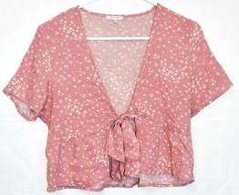 Lottie Moss Women's Pink Floral Open Front Tie Short Sleeve Shirt Size XS