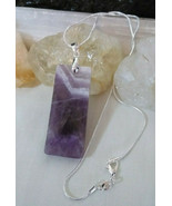 Necklace with Natural Amethyst Crystal Pendant Sterling Sliver Chain Boh... - $20.79